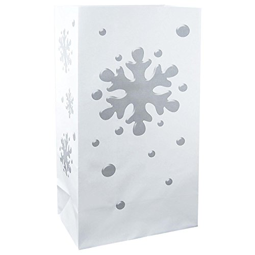 CC Home Furnishings Pack of 100 Traditional White and Silver Winter Snowflake Luminaria Bags 11