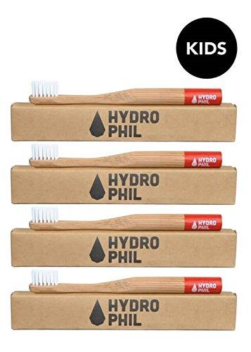 Hydro Phil Niños de cepillo de dientes de color rojo (4 Pack) de bambú
