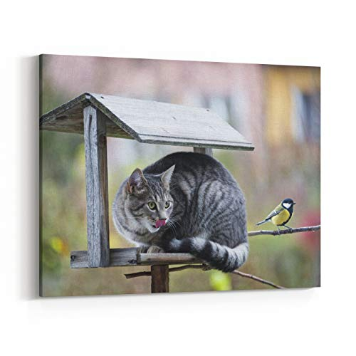 Rosenberry Rooms Canvas Wall Art Prints - Cat Hunting A Bird (24 x 20 inches) ()