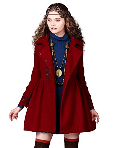 Artka Women's Vintage Ethnic Embroidered Cinch Waist Swing Coat Red (Wool Swing Coat)