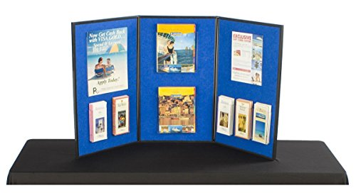 Displays2go 3-Panel Table Presentation Board, 54 x 30 Inches, Blue Velcro Fabric and White (3PV5430BLU) by Displays2go (Image #1)