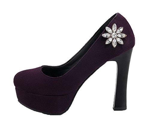 Amoonyfashion Womens Hoge Hakken Frosted Solide Ronde Gesloten Teen Pumps-schoenen Paars