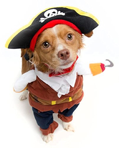 Pet Krewe PK00104L Pirate Pet Costume with Arms & Hat, -