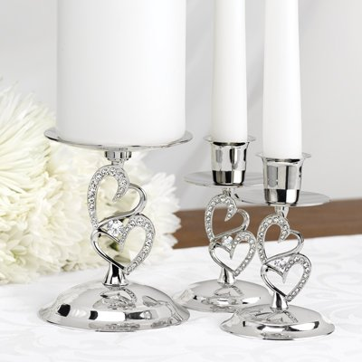 - Sparkling Love Wedding Unity Candle Holder Taper Stands