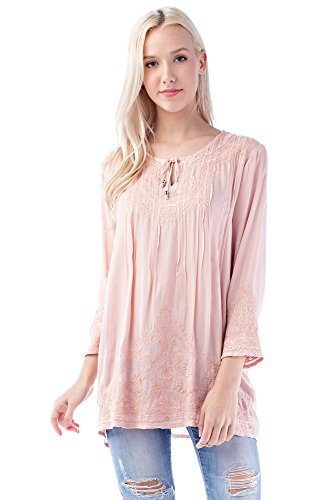 Solitaire Embroidered Blouse (Large, Blush) ()