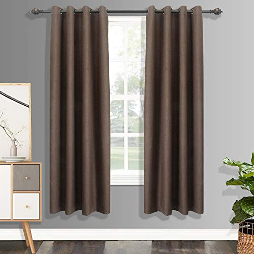 CSOFT 100% Blackout Curtains with 4 Pass Coating, Energy Efficient Thermal Insulated Window Drapery, Linen Room Darkening Curtains for Living Room Bedroom(2 Panels,52WX 84L Inch, Brown or Chocolate) ()