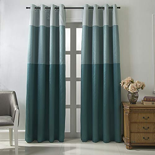 (Jarl home Three-Color Stitching Blackout Curtains - Artificial Silk Blackout Window Drape Lined Double Curtains Grommet Top Curtain Panels for Living Room - 2 Panels (Turquoise Blue, 52 x 84 inch))