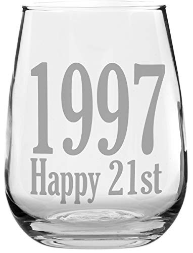 1997 - Happy 21st Birthday - Stemless Wine Glass - Makes a Great Gift Under $10