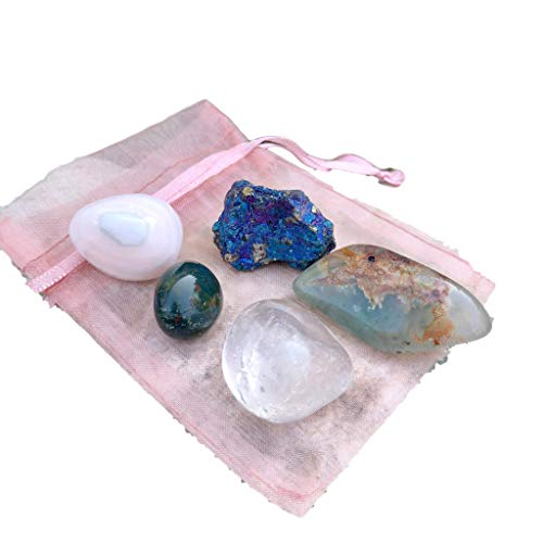 Sparkle Rock Pop Self Love & Happiness Stone Set - Pink/Mangano Calcite, Peacock Ore, Green Jasper, Bloodstone - Crystals for Grounding and Self-Development - Peacock Blue Crystal