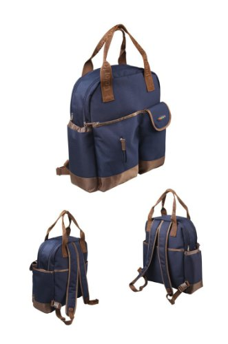 Blue Fashion multifunctional shoulder / backpack waterproof mommy baby diaper bag with changing mat babies care