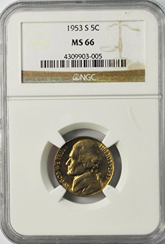 1953 S Jefferson Nickel Five Cents Brilliant Uncirculated 5c MS66 NGC