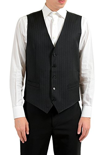 Dolce & Gabbana Men's 100% Wool Striped Button Up Dress Vest US 40 IT 50 ()