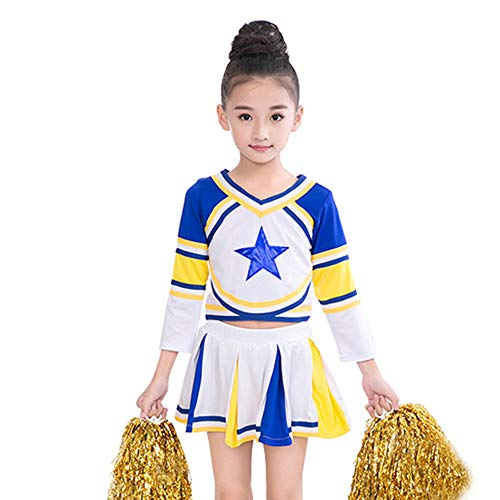 Girls Blue Cheerleader Long Sleeve Outfit+Poms+socks Fits 3-15Yrs Clothes Dress (6-8) -