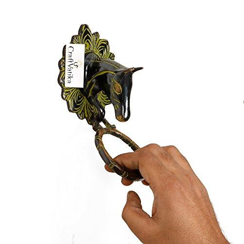 CraftVatika Horse Head Animal Brass Door Knocker Antique Finish Door Handle Vintage Style Door Knob Home Decor