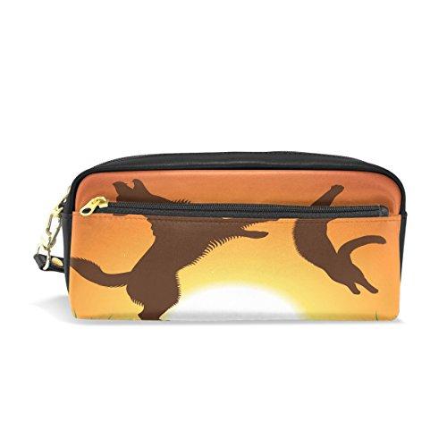 Tizorax pour chien et chat saut Coucher de soleil Trousse Cuir PU étudiants papeterie Pen Sac pochette Sac de maquillage
