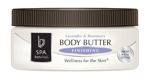 Body Butter by Bon Vital, Body Butter, Lavender & Rosemary Scented Whipped Moisturizer with Cocoa Butter, Shea Butter, Beeswax, Professional Spa Quality Thick Lotion for Dry Patches & Skin, 8 oz.