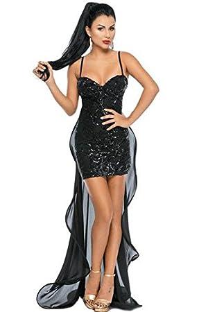 Nuevo Negro lentejuelas largo cola vestido de fiesta noche cóctel club vestido de fiesta tamaño S