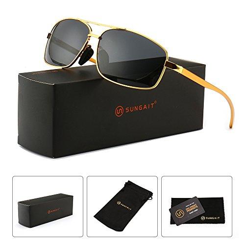 SUNGAIT Ultra Lightweight Rectangular Polarized Sunglasses 100% UV protection (Gold Frame Grey Lens, 62) Metal Frame 2458 JKH
