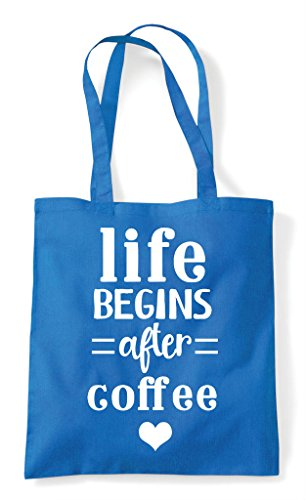 Statement Shopper After Bag Tote Sapphire Coffee Life Begins wYAqP8tx