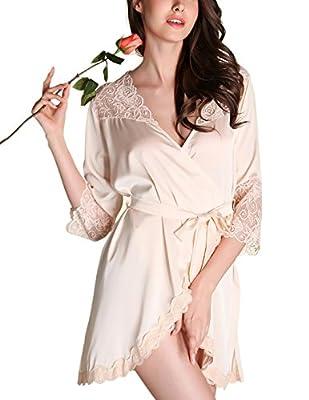 zhenwei Womens Satin Short Robes Lace Trim Kimono Soft Sleepwear Comfy Lounge Bathrobes
