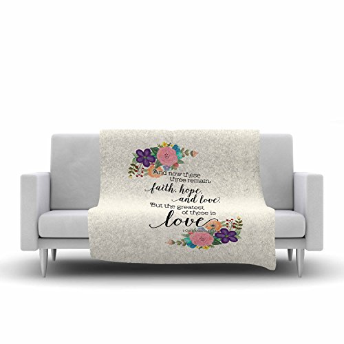 KESS InHouse Noonday Design''Faith, Hope, and Love'' Beige Multicolor Fleece Throw Blanket, 40 by 30-Inch, 40'' X 30'''' by Kess InHouse