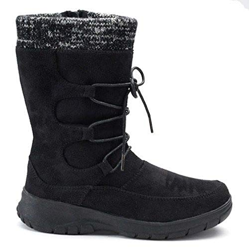 Boots Itasca Womens (ITASCA, Women Deidre Winter Boot Black SZ 10 Traction Knit Collar Scotchgard Lace Up)