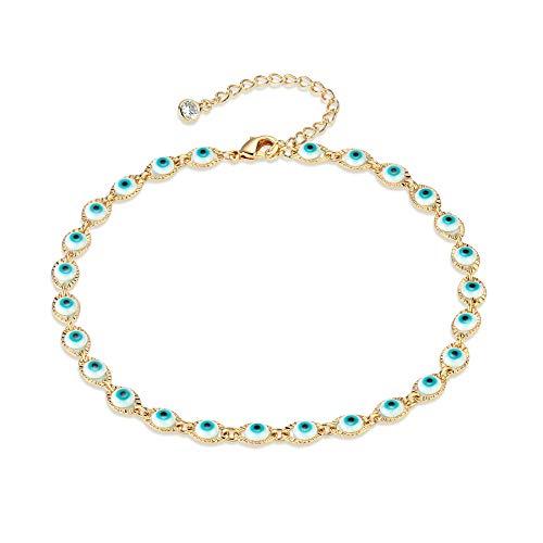 Blue Evile Eye Anklet,14K Gold Plated Cute Evile Eye Summer Ankle Bracelet Boho Beach Foot Chain ()