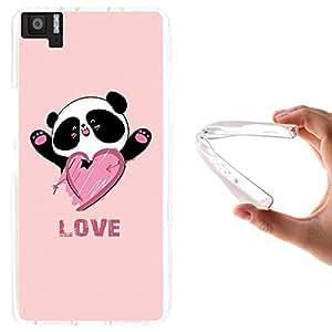 WoowCase - Funda Gel Flexible { bq Aquaris M5 } Oso Panda y Corazón Love Carcasa Case Silicona TPU Suave