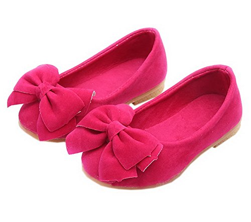 Vokamara Faux Suede Bow Round Toe Ballet Flats Slip On Shoes X-Peach 26