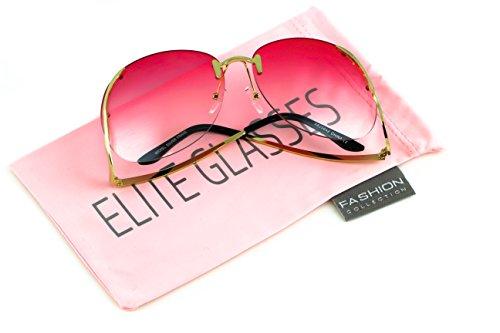 (Elite RIMLESS OVERSIZED VINTAGE RETRO Butterfly Upside Down Sun Glasses)