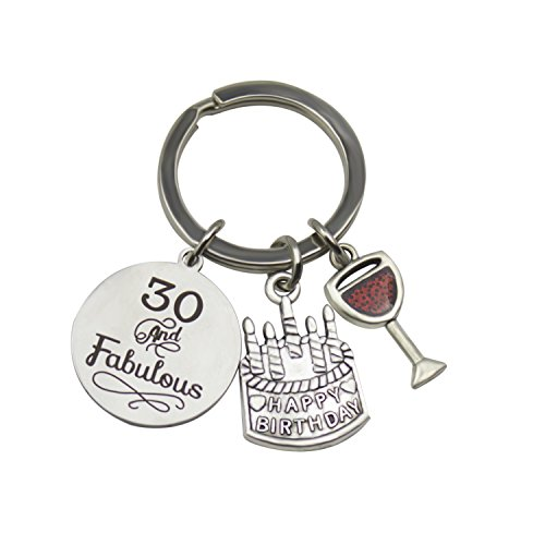 Zizh 16th 30th 40th 50th 60th 70th 80th Birthday Gift, Cake Keychain, Charm DIY Jewelry (30th)