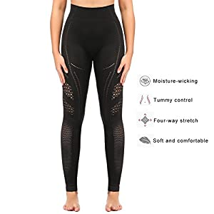 e1e472f98fb02 Sekermaet Yoga Leggings High Waist, Gym Workout Tights Athletic Pants  Running for Women Compression