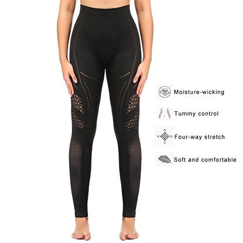 Sekermaet Yoga Leggings High Waist, Gym Workout Tights Athletic Pants Running for Women Compression Black