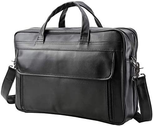 VMATE Men s Solid Full Grain Cowhide Leather Large 17 Inch Laptop Briefcase Business Travel Messenger Bag Tote Black