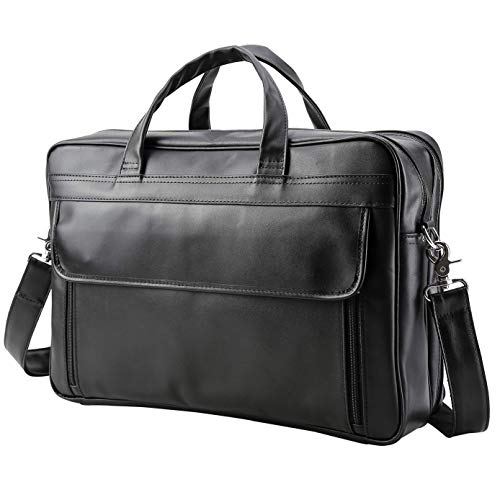 - VMATE Men's Solid Full Grain Cowhide Leather Large 17 Inch Laptop Briefcase Messenger Bag Tote(Black)