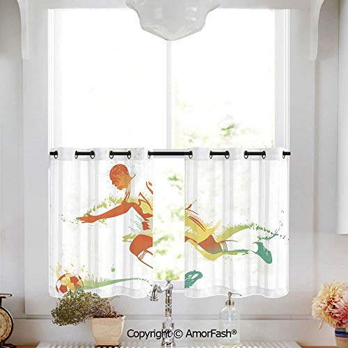 Teen Room Decor Sheer Curtain Tailored Short Curtains for Bathroom Window Covering Kitchen Cafe Curtains,W52 x L63-Inch,Young Man Playing Soccer Football Athlete Game Champion Paintbrush Artwork