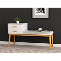 White / Natural Finish Entryway Storage Bench Solid Wood Legs with Fabric Seat and 2 Drawers - Mid-Century Style