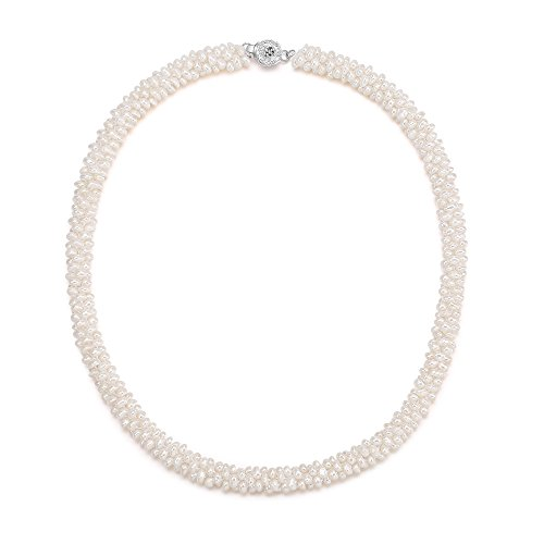 Cultured Twisted Pearl Necklace (White Freshwater Pearls Necklace Wedding Pearl Cluster Choker Necklace 18