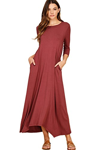Annabelle Women's Long Classy Maxi Dresses With Pockets Plus Size Berry 2X-Large D5212P (Extra Long Plus Size Maxi Dresses)