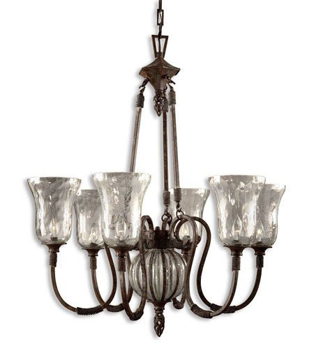Chandeliers 6 Light with Antique Saddle Finish Metal Glass Material 35 inch 240 Watts
