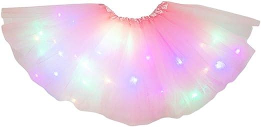 Zhoujinf - Falda tutú de tul con lentejuelas y purpurina con luz ...