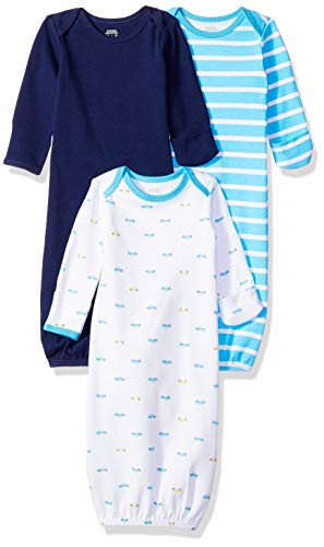 Amazon Essentials Baby Boys 3-Pack Sleeper Gown, Car, 0-6M
