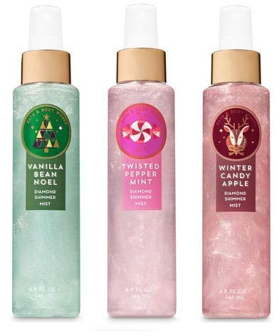 (Bath and Body Works 3 Pack Christmas Favorites Diamond Shimmer Mist 4.9 oz. Vanilla Bean Noel, Twisted Peppermint and Winter Candy Apple.)