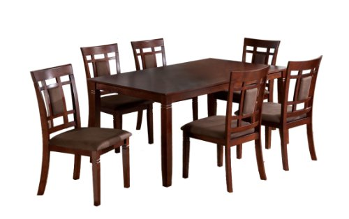 Furniture of America Cartiere 7-Piece Dining Table Set, Dark Cherry Finish