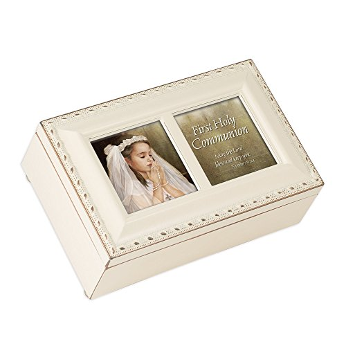Frame Music Box (First Communion Girl Cottage Garden Inspirational Ivory Petite Music Box Plays Ave)