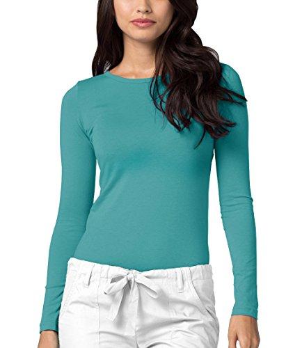 Adar Womens Comfort Long Sleeve T-Shirt Underscrub Tee - 2900 - AQM - XS (Nursing Cotton Coat)