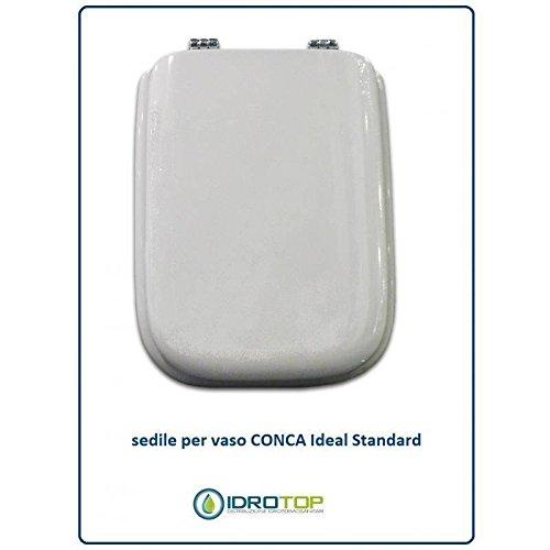 Copriwater in Legno Rivestito di Poliestere per Ideal Standard CONCA BIANCO I.S. Cerniera Cromo-Sedile-Asse Wc ACB/COLBAM