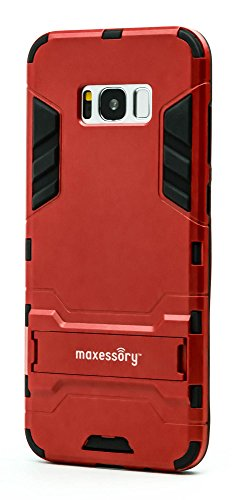 Maxessory Stealth Ultra-Slim Dual-Layer Shock-Proof Rugged Heavy-Duty Rubber Grip Rigid Hybrid Armor Shell Cover w/Kickstand Red Case Compatible with Galaxy S8 Plus/Galaxy S8+