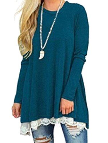 Confortables Femmes Épissage Manches Longues Dentelle À Encolure Dégagée Robe De Soirée Bleu Foncé