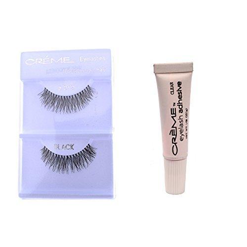 12 Pairs Crème 100% Human Hair Natural False Eyelash Extensions Black #213 Natural Long Lashes by Creme Eyelash